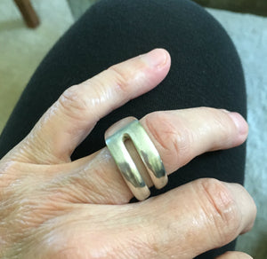 Upcycled Silver Double Fork Tine Ring Modern Aesthetic Size 7 shown on model