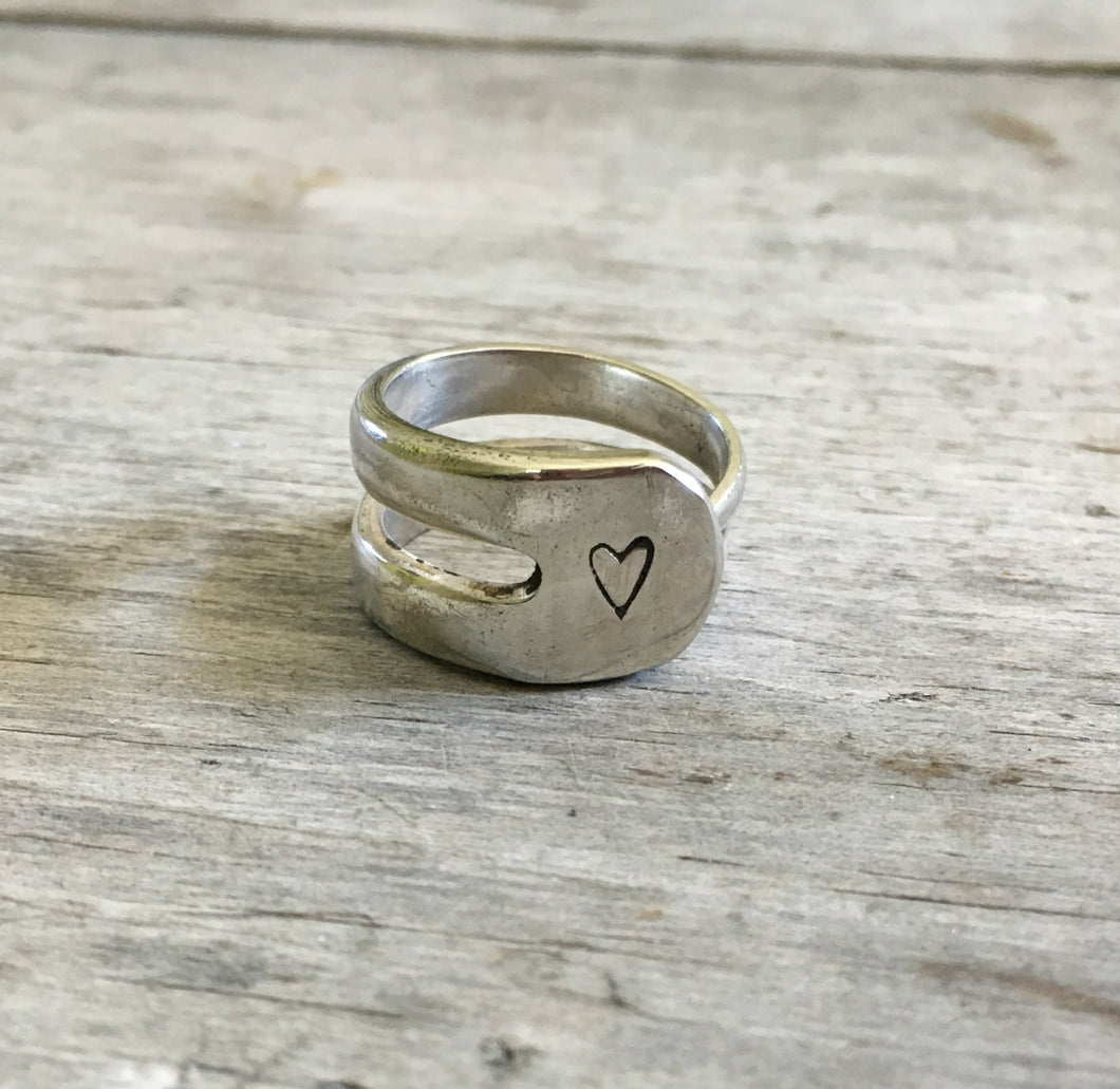 Double Fork Tine Ring Handstamped with Heart Size 8