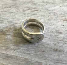 upcycled fork ring Handstamped with Heart Size 8