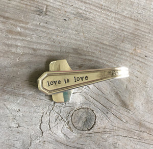 Silverware Money Clip Handstamped Love is Love