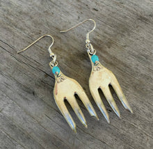 Fork Earrings  Teal Beads