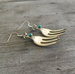 Upcycled Silverware Earrings from Cocktail Forks with Floral Detail and Teal Beads
