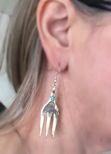 Fork Earrings from Cocktail Forks with Floral Detail and Teal Beads Shown on Model
