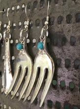 Fork Earrings from Cocktail Forks Shown on Cheese Grater Display