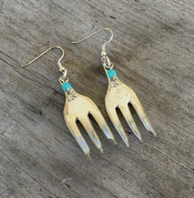 Fork Earrings from Cocktail Forks with Floral Detail and Teal Beads