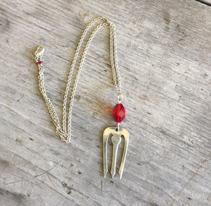 Fork Necklace - Red Glass Bead - #1302