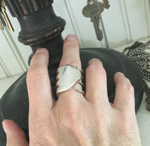Size 9 Silverware Ring Made from Upcycled Fork shown on Model
