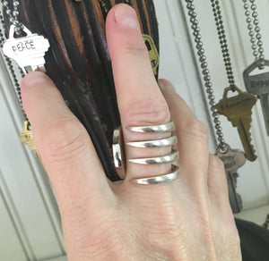unique silverware ring Made from Upcycled Fork shown on Model