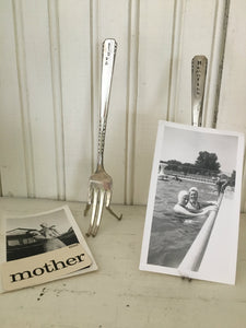 Hand Stamped fork made into an easel photo display