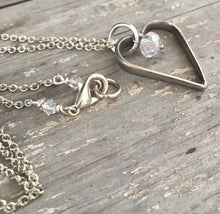 Fork Tine Floating Heart Necklace - #4285