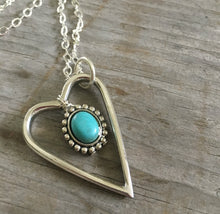 Fork Tine Heart Necklace with Turquoise Colored Stone - Upcycled Silverware Jewelry