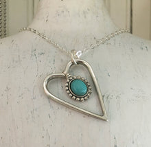 Fork Tine Heart Necklace Shown Hanging - Upcycled Silverware Jewelry
