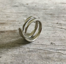 Unique Ring Made from Upcycled Silverware Fork Tines Size 10