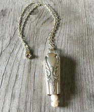 Knife Bell Necklace from Avalon Cabin Pattern accented with cultured pearls