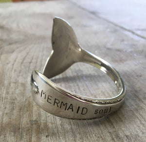 Spoon Cuff Bracelet with Mermaid Tail Fin Hand Stamped Mermaid Soul