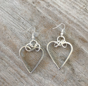 Fork Tine Heart Floating Hoop Earrings - #4570