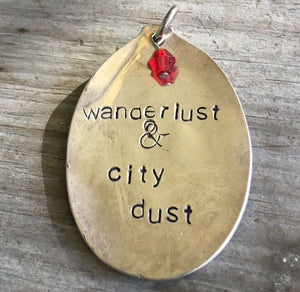 SALE - Stamped Spoon Pendant - WANDERLUST & CITY DUST - #2299