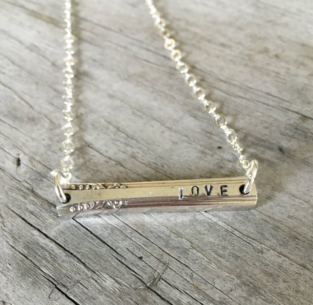 Scrap Bar Silverware Necklace - LOVE - #3996