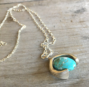 Silverware Necklace from Scrap Piece and Turquoise Colored Stone