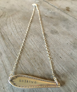 Wide Angle Shot ofSilverware Necklace Scrap Bar Style Sheraton Hand Stamped Believe 4000 (2)