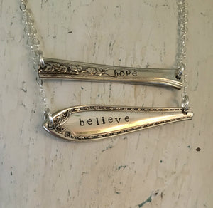 Silverware Necklace Scrap Bar Style Sheraton Hand Stamped Believe 4000 Shown with another scrap bar necklace