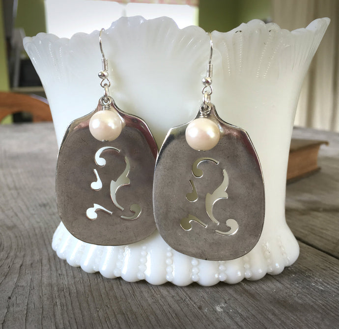 Slotted Sugar Spoon Earrings with Faux Pearl South Seas Silverplate Spoons Shown Hanging from Antique milk glass dish