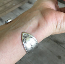 hand stamped Spoon Cuff Bracelet shown on model