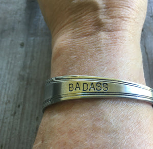 Spoon Cuff Bracelet Stamped Badass Shown on Model View 2