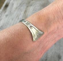 Hand Stamped Spoon Cuff Bracelet Faith Shown On Model