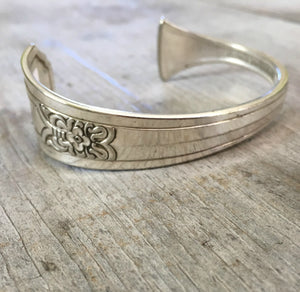 Stamped Spoon Cuff Bracelet FAITH on Fenway Silverplate Spoon Handle View of backside