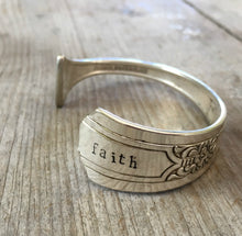 Stamped Spoon Cuff Bracelet FAITH on Fenway Silverplate Spoon Handle