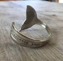 Spoon Cuff Bracelet with Mermaid Tail Fin End Hand Stamped Mermaid Soul