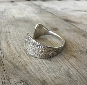 Spoon Cuff Bracelet with Embossed Flowers