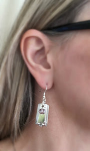 Upcycled Silverware Earrings Made from King Arthur Spoons Shown On Model