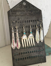 Sheraton Spoon Earrings Shown on Cheese Grater Display