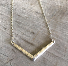Spoon Handle Necklace in Chevron Shape Upcycled silverware jewelry