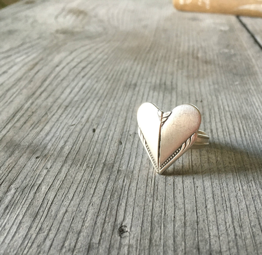 Spoon Heart Ring From Upcycled Hiawatha Silverware Size 7