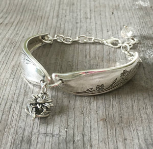 Spoon Bracelet Linked together with jump ring adorned with flower charm