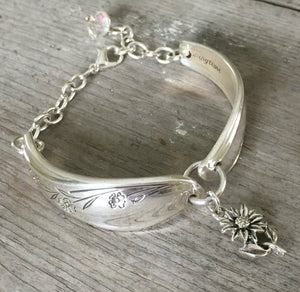 1847 Springtime Spoon Link Bracelet with Czech Glass bead and flower charm