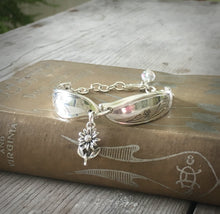 Upcycled Silverware Bracelet made from spoon handles and czech glass bead