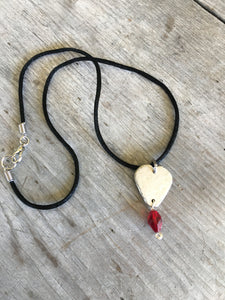 Spoon Guitar Pick Necklace on Black Silk Cord - #4273