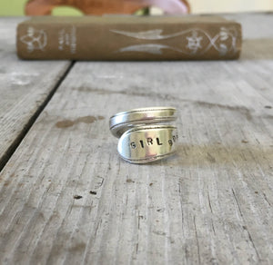 Spoon Ring Stamped Girl Boss Adoration Pattern in Coil Wrap Design Size 7