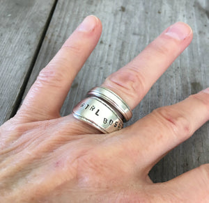 Coil Wrap Girl Boss Stamped Spoon Ring Shown on Model Hand
