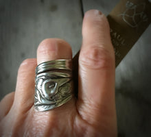 Peace Lily Upcycled Spoon Ring in Coil Wrap Style Shown on Model