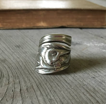 Coil Wrap Spoon Ring Covered In Embossed Peace Lilies Size 8