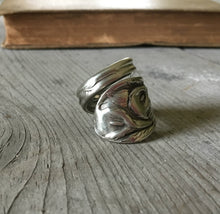 Upcycled Spoon Ring with Lilies all over it