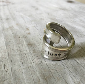 Size 8 Spoon Ring Stamped Wanderlust
