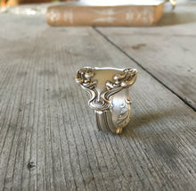 Upcycled Silverware Ring Made from Spoon Crest Pattern Size 11 3913