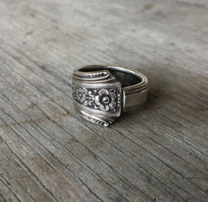 floral Upcycled silverware ring from antique spoon
