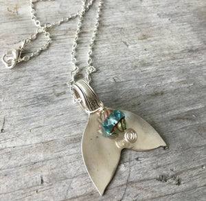 Vintage silverplate silverware necklace in the shape of an ocean creature tail fin